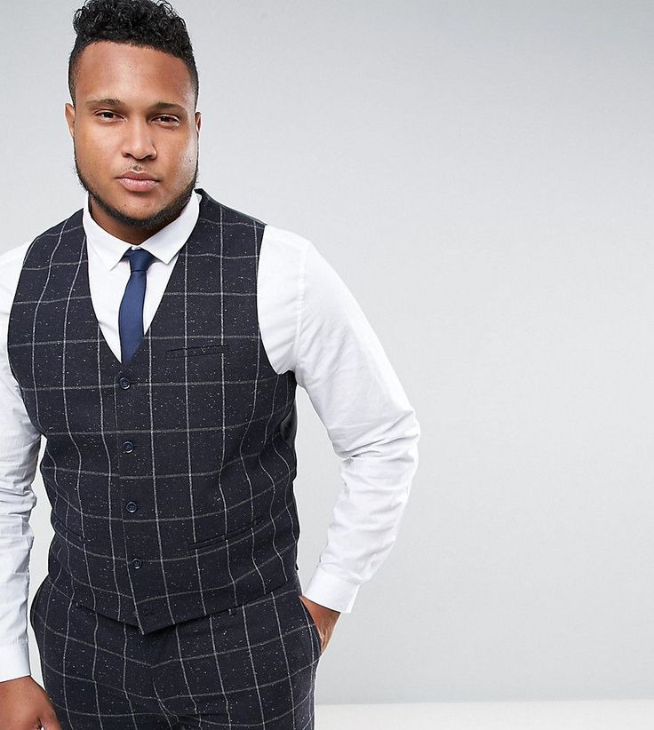 ASOS PLUS Super Skinny Suit Vest in Navy Check With Nep - Navy