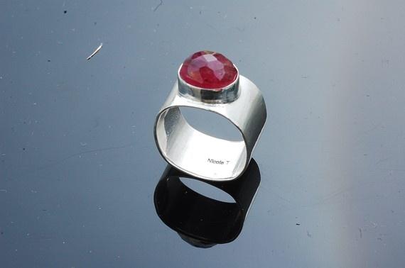 Silver Ring with Tourmaline gemstone by NicoleThomasJewelry, $148.00
