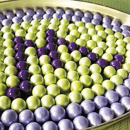 Monogrammed green and purple gumballs