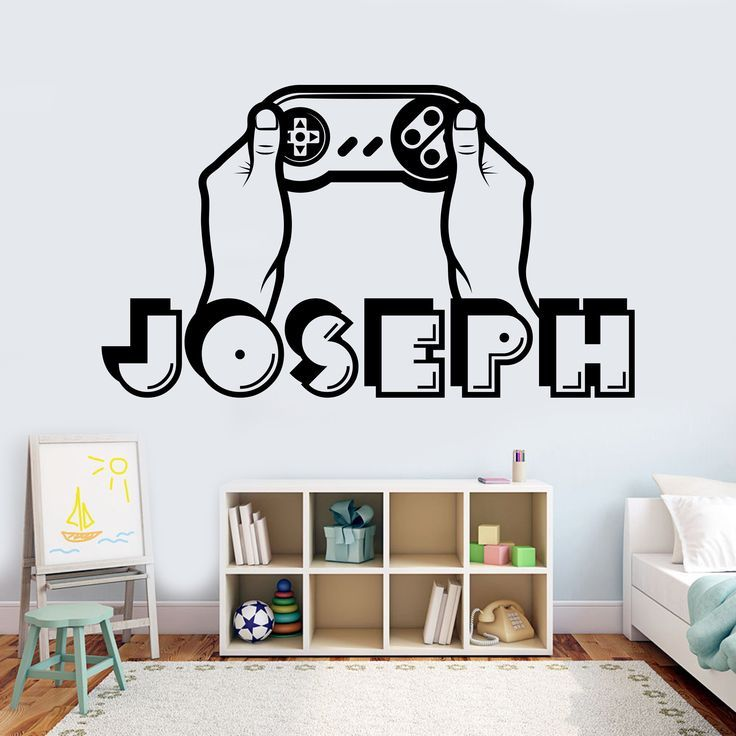 Boy name wall decal personalized gamer name decal 3d sticker controller video game decal customized name teen computer games room design 48 –  – #Game…