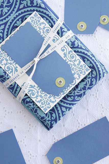 Layered blue packaging