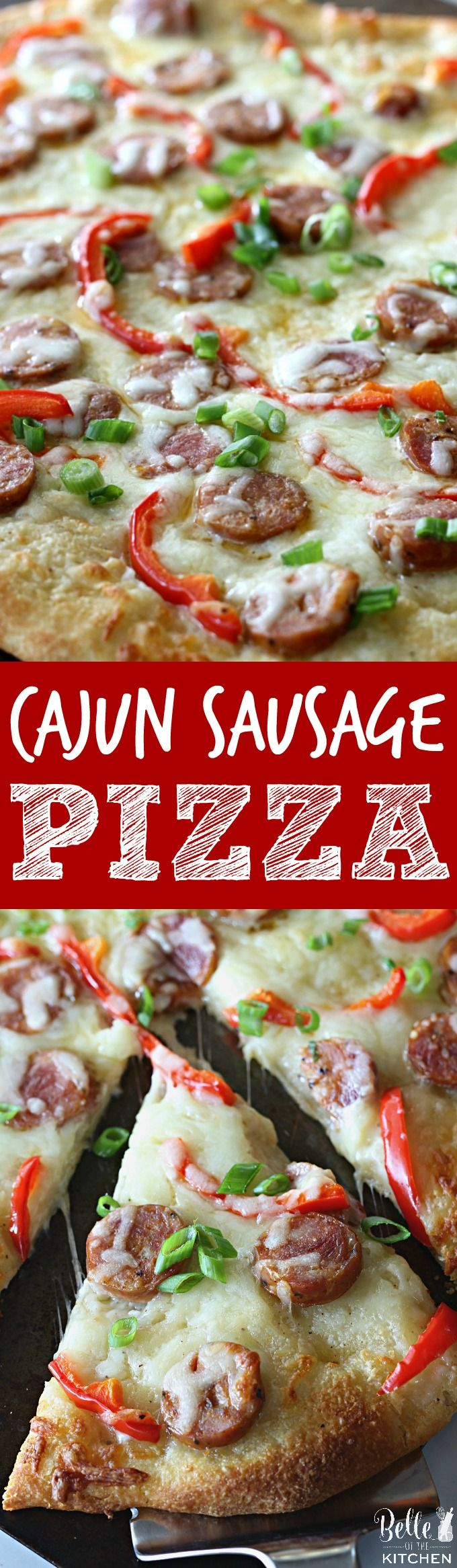 This Cajun Sausage Pizza starts with your favorite pizza dough, then gets piled with a creamy homemade sauce, andouille sausage, peppers, and gooey cheese. #SavorYourSummerRecipes #ad