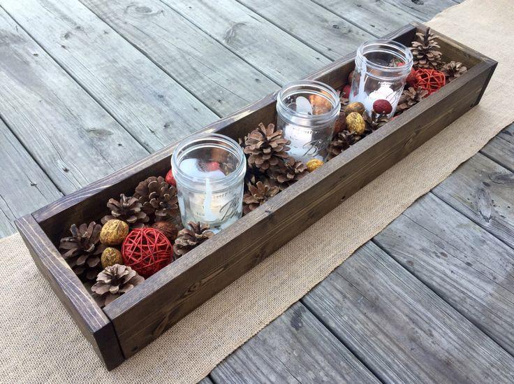 Caja de madera centro de mesa rústico 30 por BlackIronworks en Etsy