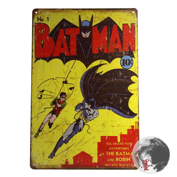Cartoon herói Bat sinal de metal, Bat Retro filme Posters parede arte decoração crianças decoração, 30 x 20 cm alishoppbrasil
