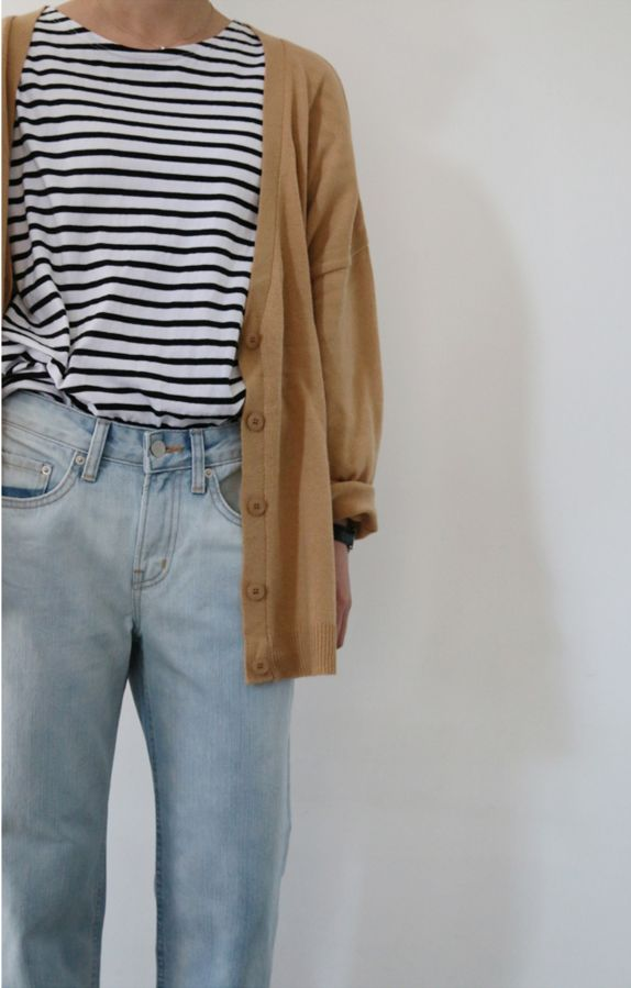 brown cardigan striped tee light mom denim jeans