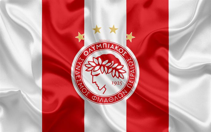 Download wallpapers Olympiakos Piraeus FC, 4k, Greek football club, emblem, logo, Super League, championship, football, Piraeus, Greece, silk texture, flag