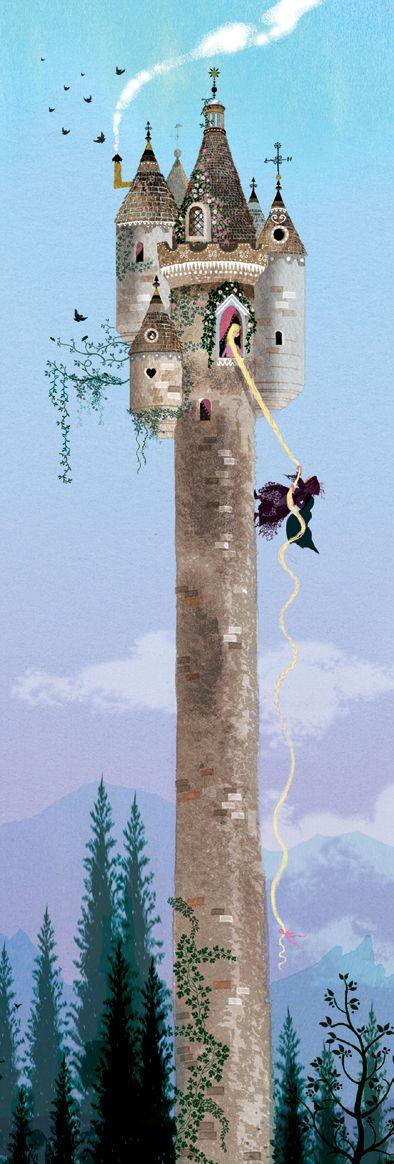 Rapunzel, Rapunzel, let down your hair by Sarah Gibb #fairytale #illustrations #rapunzel
