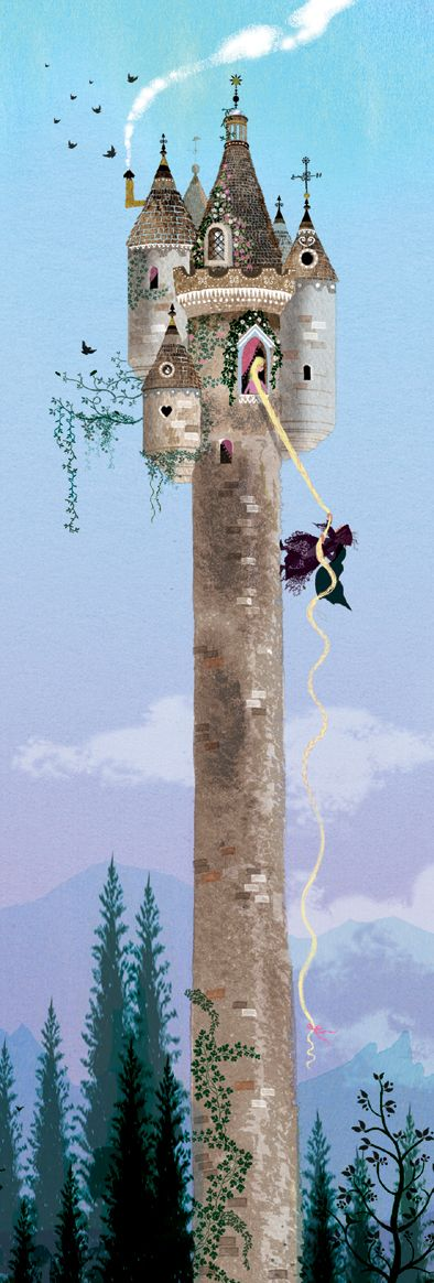 Rapunzel, Rapunzel, let down your hair by Sarah Gibb #fairytale #illustrations #rapunzel
