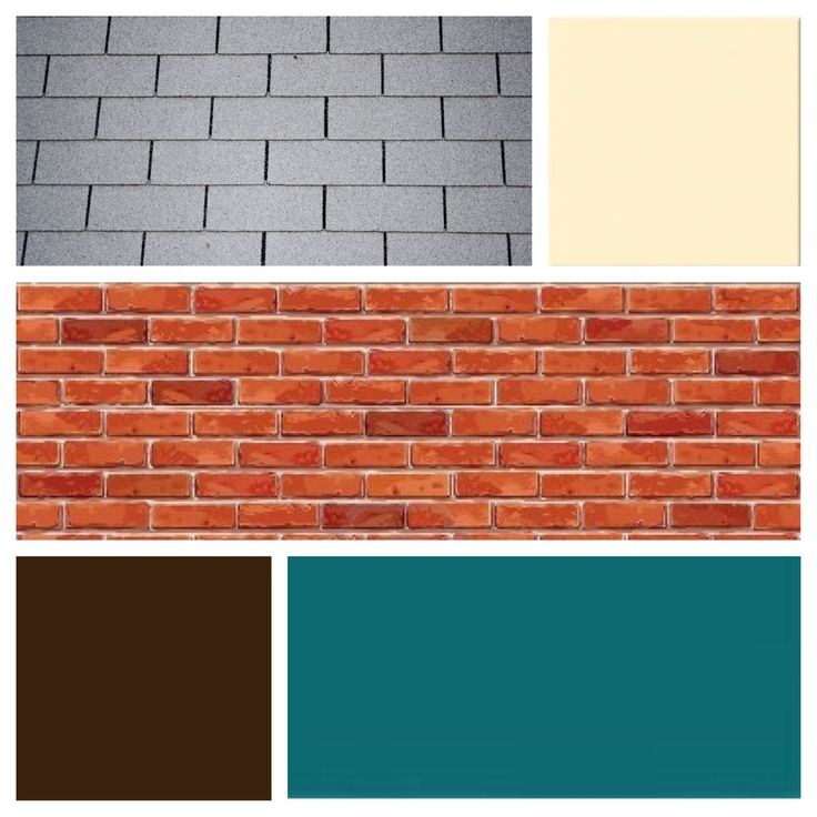 Exterior color scheme for red brick and grey roof teal for Siding and shutter combinations