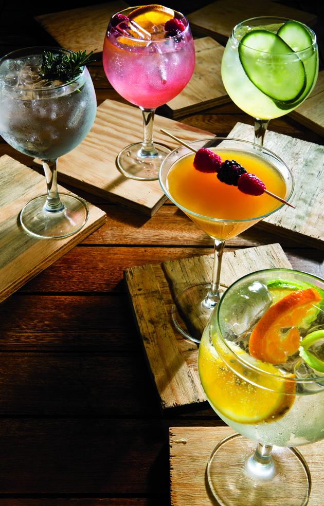 Cinco tragos de gin esenciales 1. Cataluña Premium Gin (romero, tomillo y gin Mare). 2. Cítrica y afrutada (piel de naranja, moras, frambuesas y gin Citadelle). 3. Cucumber & London Collins (pepino, jugo de naranja y de limón, jarabe natural, agua mineral y gin The London Nº 1). 4. London Spring martini (jarabe de coco, jugo de toronja y naranja, miel, vermut seco y gin The London Nº 1). 5. Cataluña Premium Gin (con limón, lima y mandarina y gin Tanqueray 10)