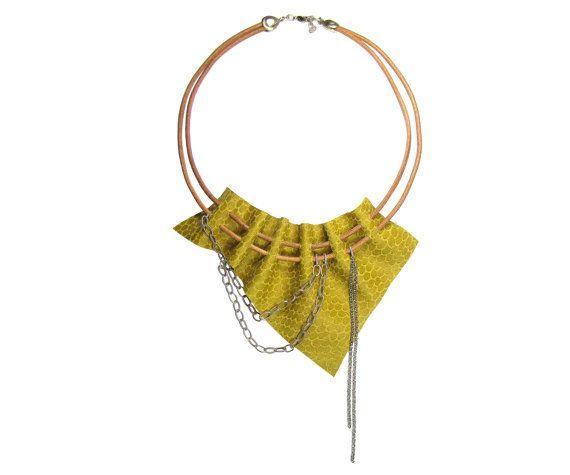 Yellow Leather Necklace  Bib Necklace by FILIZASLI on Etsy, $42.50