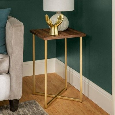 16 Square Side Table Dark Walnut Gold Saracina Home In 2020 With Images Square Side Table Living Room Side Table Table Decor Living Room