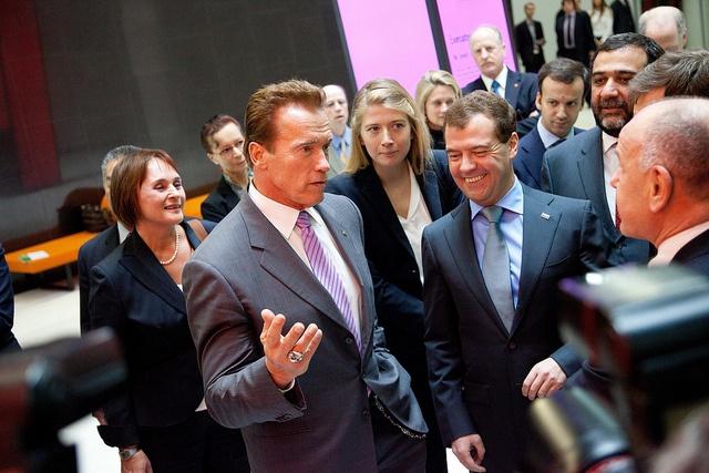Meeting of Dmitry Medvedev and Arnold Schwarzenegger at SKOLKOVO