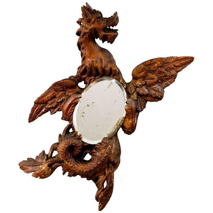 Antique Carved Wood Dragon Mirror, Circa 1900 | From a unique collection of antique and modern wall mirrors at http://www.1stdibs.com/furniture/mirrors/wall-mirrors/
