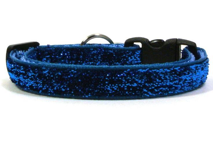 Sparkling Blue Breakaway Cat Collar by SwankyKittyDesigns on Etsy