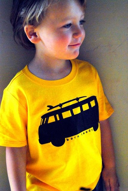 BORN TO SURF- VW Bus With Surfboard T-Shirt Design Yellow size 2.