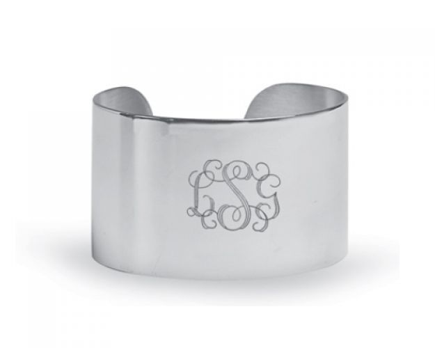 "Not just the classic bridesmaids gift, a popular gift for all occasions. This solid, one inch wide personalized cuff bracelet will be enjoyed for all the years to come Price includes an optional 3 Initial engraving. Please enter initials in Name Order: First, Middle, then Last. Allow five business days for engraving. Additional engraving is optional: $15 for the first 5 letters and $1 per letter after. New Width measures 1.5""."
