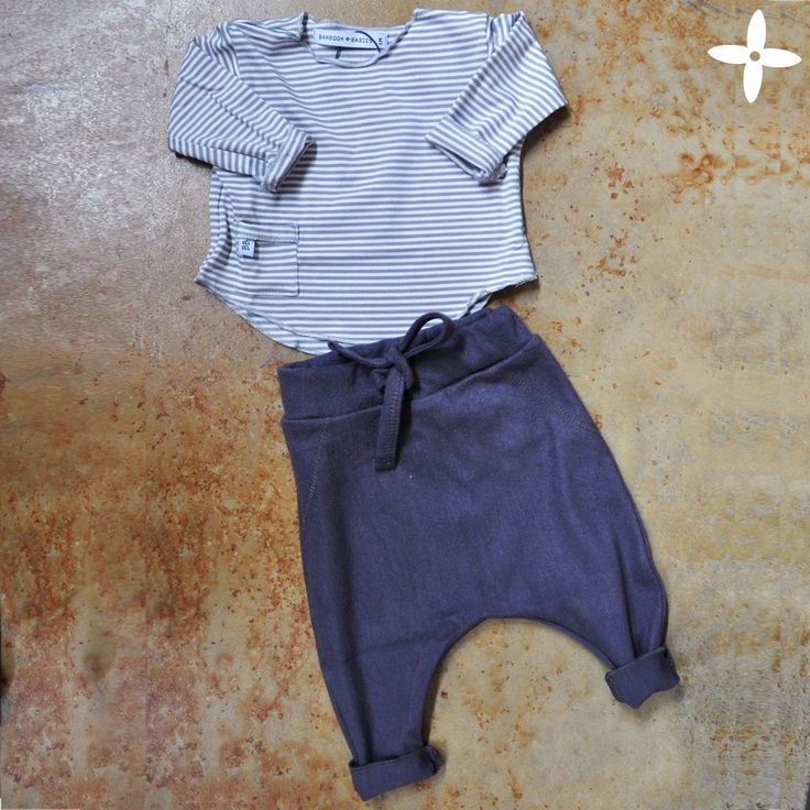 Shop the look: stripes t-shirt + pants - organic bamboo, made in Italy #babylook #babywear #babyclothes