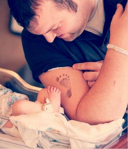 Daddy baby footprint tattoo