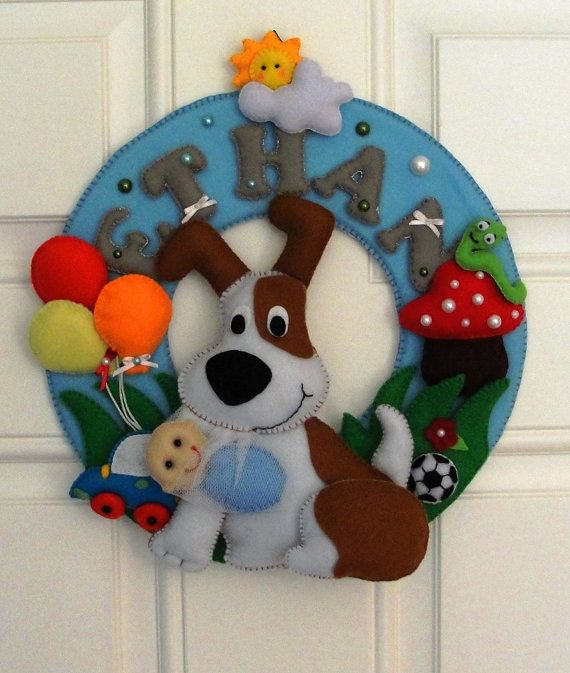 Personalized name garland  DOG by DMLcraft on Etsy