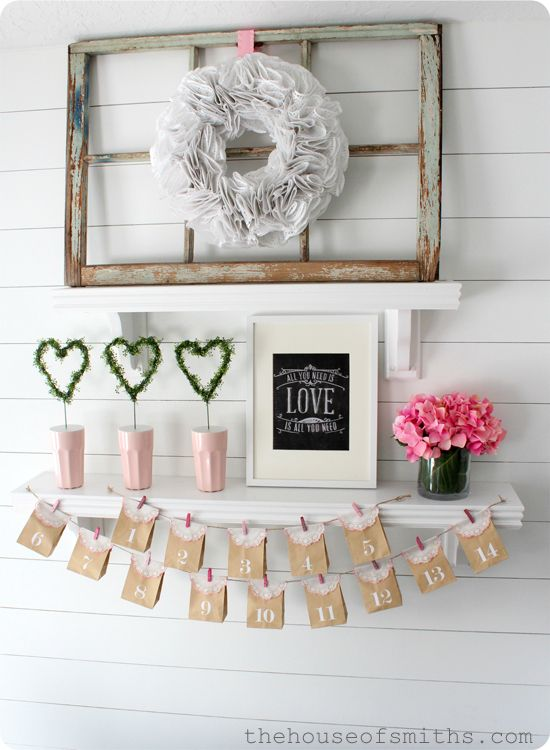 Simple, fresh valentines decor -valentine advent, cute idea!