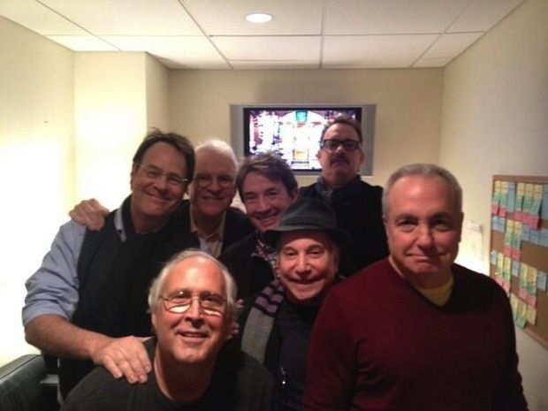 Steve Martin, Tom Hanks, Chevy Chase, Dan Akroyd, Martin Short, Paul Simon, and Lorne Michaels: