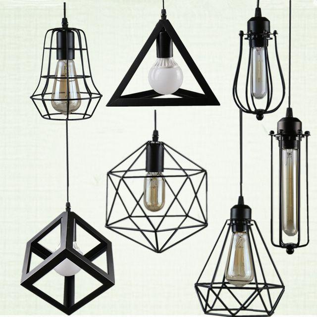Rétro éclairage intérieur Vintage pendentif lumière LED lumières 24 sortes de fer cage abat-jour de style entrepôt luminaire