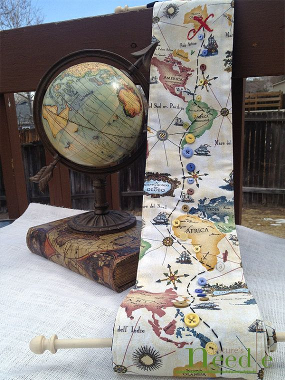 Childs Fabric Growth Chart Old World Map With Embroidery Nursery