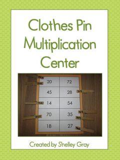 Classroom Freebies: Clothes Pin Multiplication Center: Math Center, Classroom Freebies, Learning Zone, Clothes, Pin Multiplication, Teaching Ideas, Multiplication Division, Multiplication Center, Clothing Pin