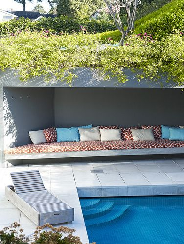 Pool and seating alcove
