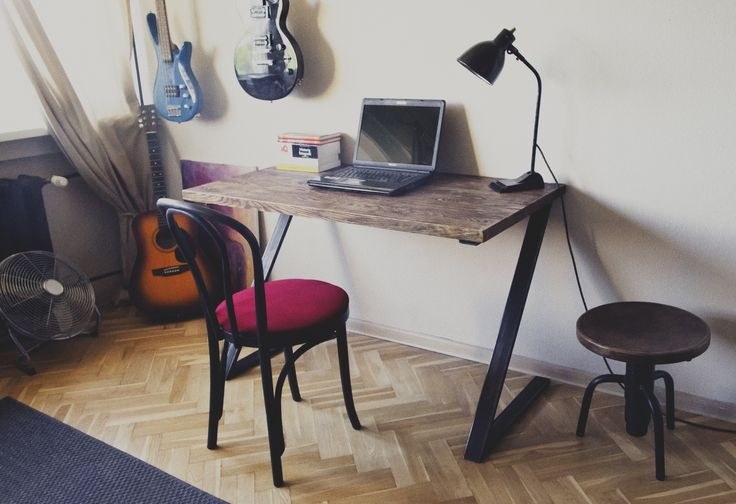 wooden desk, steel frame. industrial style. manufactured by SteelRabbit