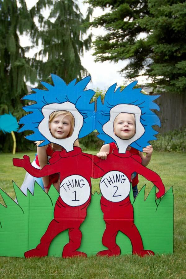 An idea for read across America. Put several Seuss characters in different common areas of bldg and take photos of kids from all classes all day. And pics of teachers joining in the fun! Parent volunteers make these?? Lets run with it friends!!!