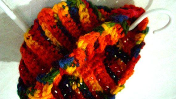 Bright Cowl Scarf Crochet Rainbow by KrystalzKreations on Etsy, $30.00
