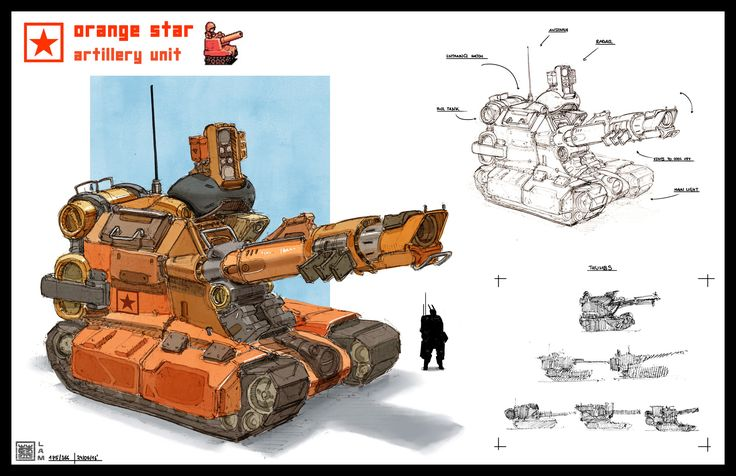 ArtStation - Advance Wars redesign - Orange Star - artillery unit , Sheng Lam