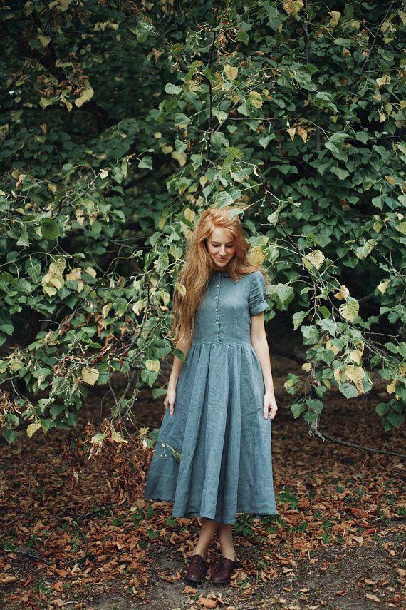 Linen Dress Dirty Green Women Fashion Hand Made by SondeflorShop