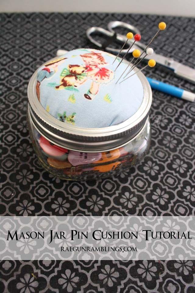 How to make a darling pin cushion out of a mason jar - Rae Gun Ramblings