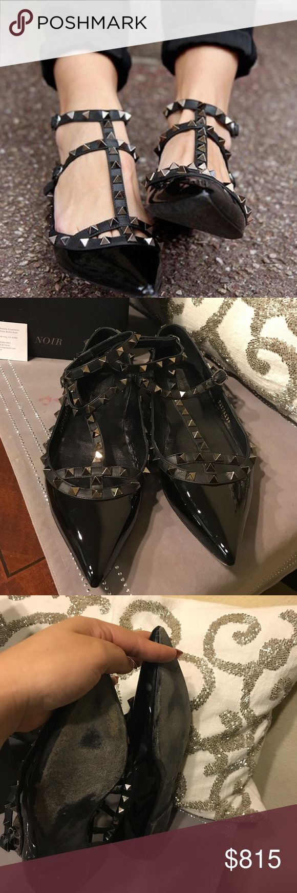 Valentino Patent Leather Rockstud Flats ❣️For Sale❣️   Size 39 Comes with box, 2 extra studs & dust cloth.  Only flaw I would say are the bottom and inside.  They are in used condition. The tips of the shoes are still in great condition (there's no peeling).   Serial# DJ376239 Valentino Shoes Flats & Loafers