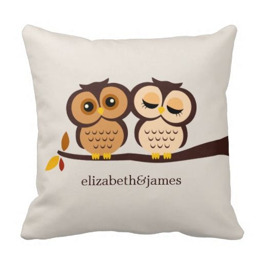 Owls in Autumn Custom Throw Pillow