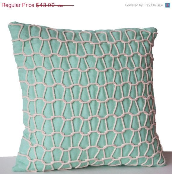 4th of July SALE Teal Linen Throw Pillows Hand by AmoreBeaute