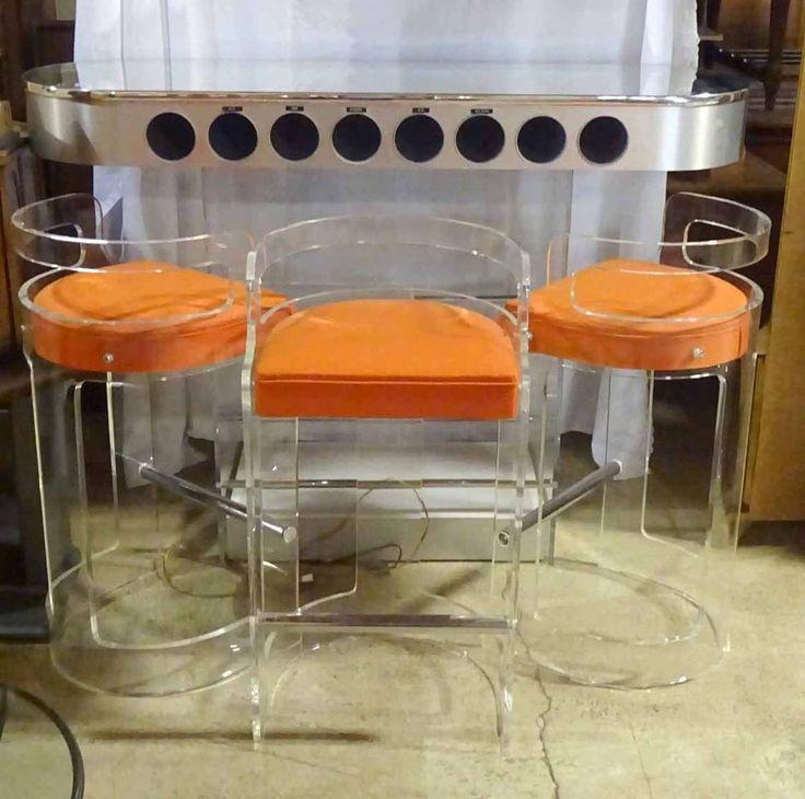 Lucite Charles Hollis Jones Liquor Bar With Mirrored Top & Orange Bar Stools #MidCenturyModern #CharlesHollisJones