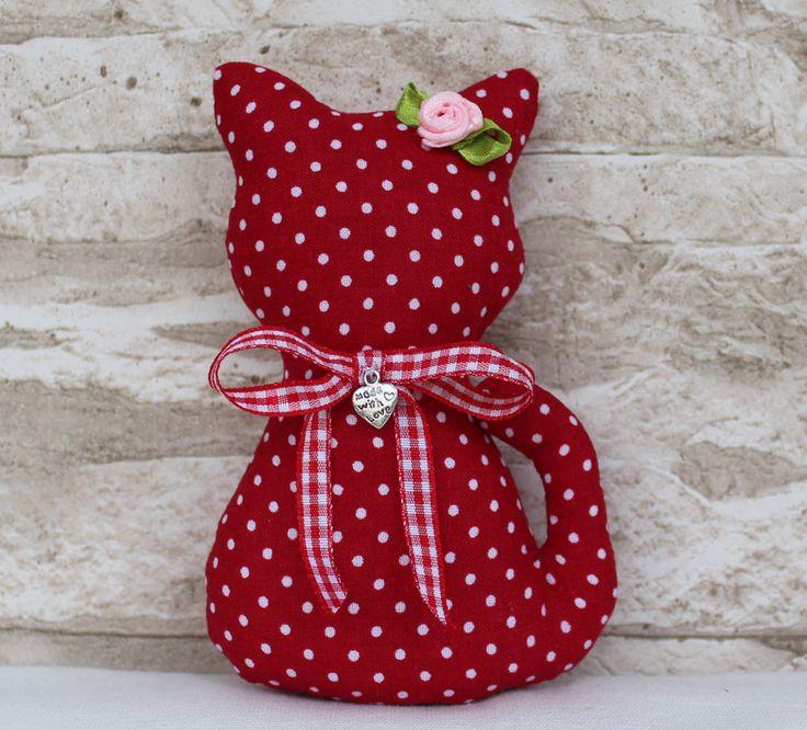 ♥ Landhaus Katze ♥ Rot Punkte Dots ♥ Shabby ♥ Deko ♥ mit Herz ♥ aus Tilda Stoff
