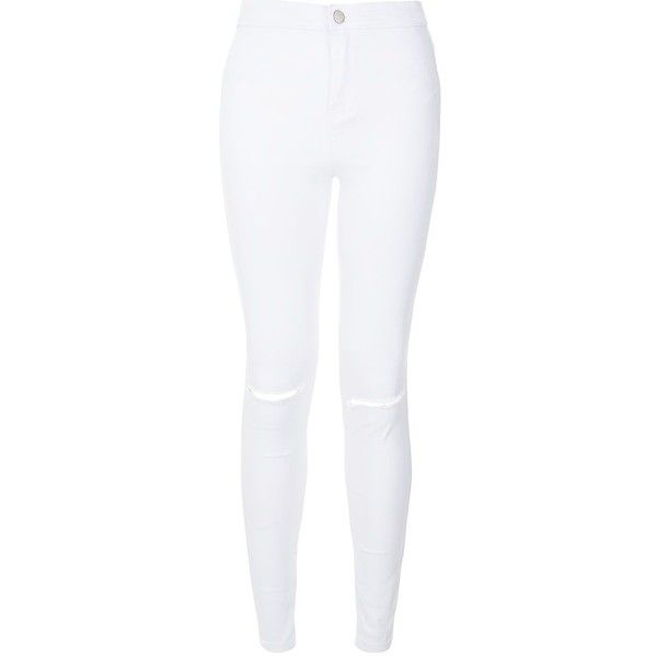White Ripped Knee Disco Jeans ($36) ❤ liked on Polyvore featuring jeans, white jeans, skinny jeans, high waisted denim jeans, destroyed skinny jeans and distressed jeans