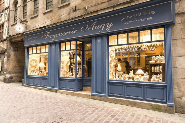 The windows of the Fayencerie Augy, porcelain craft in Rouen.