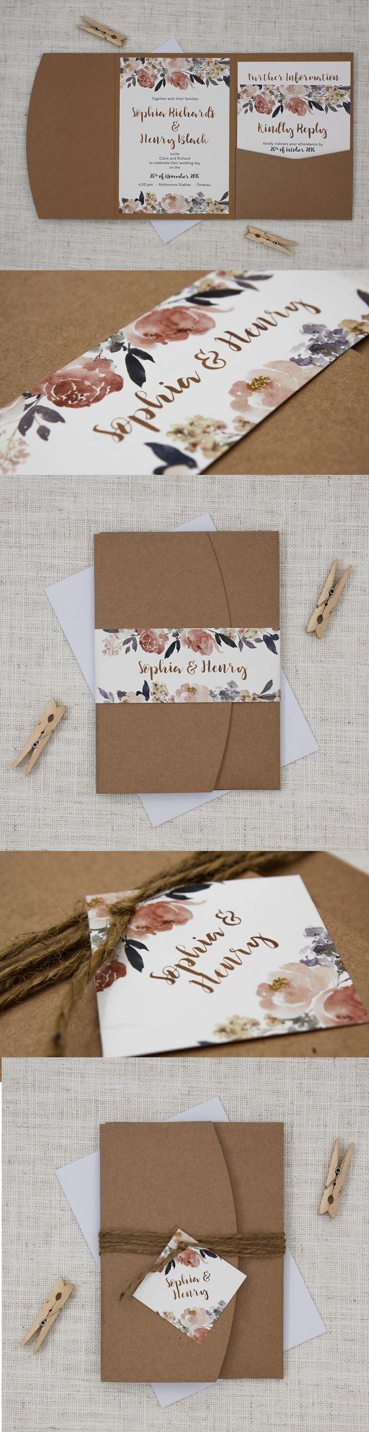 Beautiful rustic pocketfolds wedding invitation with flowers