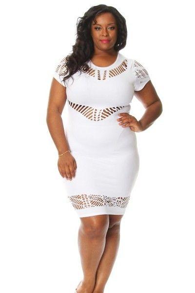 Plus Size Eyelit Cutout Mini Dress