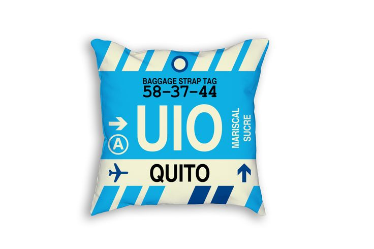 UIO Quito Airport Code Baggage Tag Pillow