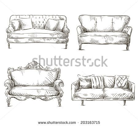 Sofa Drawing | set of sofas drawings sketch style, vector illustration - stock vector