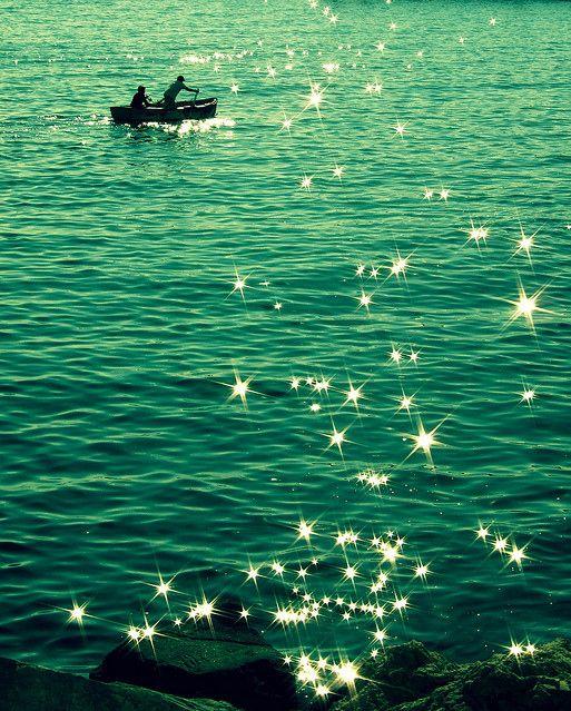 blue, boat, bokeh, green, water