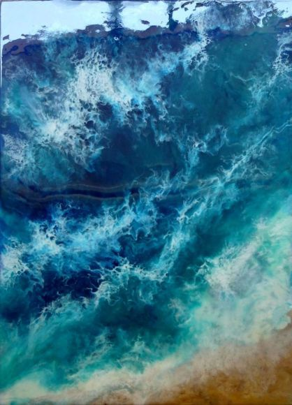 """Resin Painting """"Waves"""" Seascape 50 x 70 cm"""