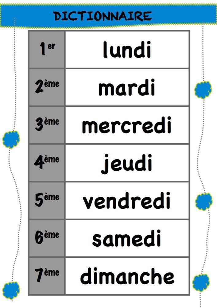 Les Jours De La Semaine Jours De La Semaine Activites De Lecture En Maternelle La Classe De Luccia